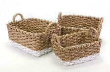 Juego de 3 cestas strohkorb Almacenamiento Cocina CANASTO weiß-natur