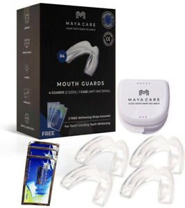 MAYACARE Set of4 Mouth Guards for Grinding Teeth 3 Free Pouches Whitening Strips