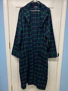 Lands' End #434357 Men's Classic Blue/Green Plaid Flannel Robe: L Belted Pockets