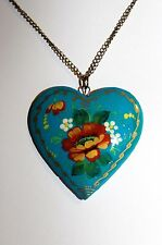 Long Chain Necklace Turquoise Blue Hand-Painted Wooden Russian Heart Charm 5019