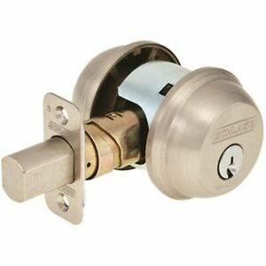 Schlage Brushed Nickel Double Cylinder Deadbolt With 2 Keys