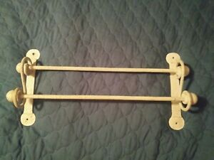 antiqued shabby white metal wall hanging double (2) towel bar country primitive
