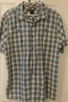 THE NORTH FACE SHORT SLEEVE BLUE PLAID BUTTON-FRONT SHIRT MENS XL EUC