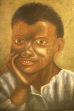 `Antique 19thC Americana Folk Art Black Boy Portrait Painting On Canvas Realism