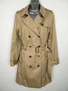 BNWT M&S COLLECTION SANDSTONE DOUBLE BREASTED BELT STORMWEAR TRENCH COAT UK 16