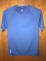 Men's ZEROXPOSUR Blue Crew Neck Active Short Sleeve T-Shirt Size Small