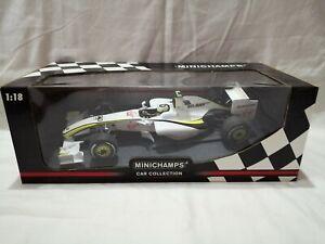 COA SIGNED MINICHAMPS RUBENS BARRICHELLO ROSS BRAWN GP BGP 001 2009 F1 CAR 1:18
