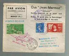 1938 France Cover La Baule Belle Ile Aviaton Meeting Air Club Cinderella