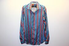 Robert Graham Long Sleeve Shirt with Flip Cuffs Size XL, Multi Colored Stripes