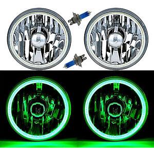 "5-3/4"" Green LED COB SMD Halo Angel Eye Halogen Light Bulb Metal Headlights Pair"