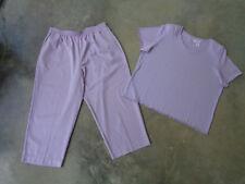 Alfred Dunner 2PC Set Womens Short Sleeve Top Shirt 1X Elastic Waist Pants 18W