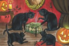 4x6 LE HALLOWEEN POSTCARD RYTA VINTAGE 2/200 BLACK CAT SPIRIT DYBBUK BOX GHOST