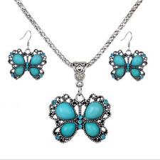 Boho Women's Vintage Turquoise Butterfly Pendant Necklace Earrings S246