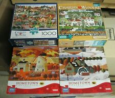 5 Lot 1000 Pc Puzzles Hometown Collection & Charles Wysocki