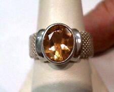 JOSEPH ESPOSITO SILVER & CITRINE MESH BAND RING 8.5  925 Sterling Silver