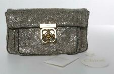 CHLOE Elsie Silver & Mauve Woven Fabric Soft Clutch Gold Lock Bag Handbag NEW