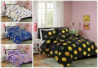 NEW EMOJI SMILEY FACE DUVET QUILT COVER WITH PILLOW CASES BEDDING SET