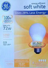 4 GE 72-Watt /100-Watt Output Soft White A19 Medium Base Light Bulbs 1350 Lumens