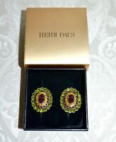 NIB $90 Heidi Daus Collector's Edition Crystal Accented Earrings Olivine Clip On