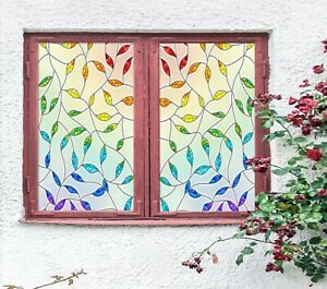 3D Rainbow Leaves R112 Window Film Print Sticker Cling Stained Glass UV Sunday