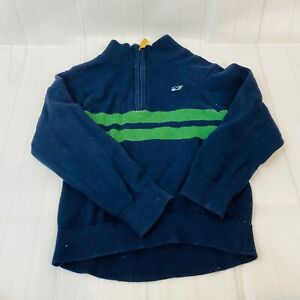 Vineyard Vines Toddler Boys Sweater Pullover 1/4 Zip Navy Green Size 5 FLAW