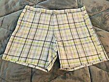 OP OPFLEX 4-Way STRETCH (Men's Size 44) White/Gray/Green Plaid Shorts