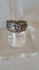Artisan 92.5 Fine Sterling Silver Marcasite Lavender Enamel Ring Size 7 - Israel