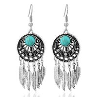 Vintage style dream catcher silver and turquoise feather chandelier earrings
