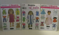 3 Simplicity 18 in Doll Clothing Patterns 4654 4786 4364 Elaine Heigl Designs