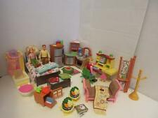 Vintage Lot Fisher Price Loving Family Furniture People Shower Fridge Desk Bed