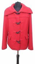 MONSOON Coat Size 16 Red w/Black Duffles Wool Blend Outdoor