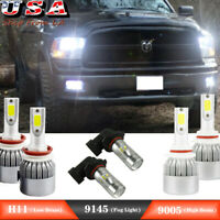 6x 6000K LED Headlight Fog Light Bulbs For 2009-2012 Dodge Ram 1500 2500 3500