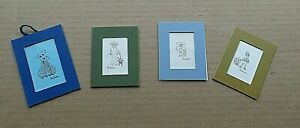 "VTG 4 DOG Lot Miniature Prints 60s Sandra ""Sondrace"" Little Ink Drawing w Matt"