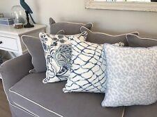 Hamptons Coastal Beach House Style Leopard Print in Baby Blue Cushion Cover