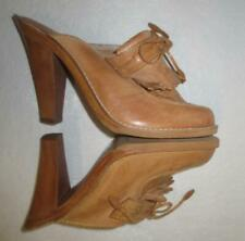 70's Vtg Wooden Leather Woven High Heel Mule Shoes New Size 9M Highlights Boho