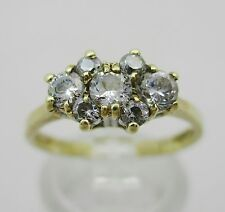 9ct Gold & CZ Set  Cluster Ring Size L