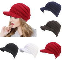 Women Beret Hat Winter Warm Visor Baggy Beanie Knitted Crochet Slouch Ski Cap