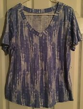 GVS Women's Top Blue White Gray Tie Dyed Size Large Short Sleeve Vneck