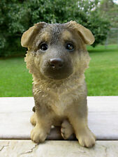 "GERMAN SHEPHERD PUPPY DOG SITTING FIGURINE  RESIN PET CANINE  ORNAMENT NEW 7"""