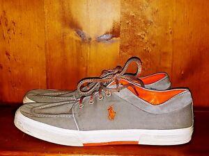 POLO Ralph Lauren FERNANDO Orange Horse on Gray Oxfords Sneaker Shoes Sz 15 👣b4