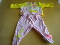 abito tuta tutina completo bambina 2 pezzi Chicco colorata disegni bimba 3 mesi