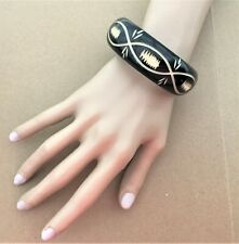 Black Bangle with Tribal Design in Cream Boho