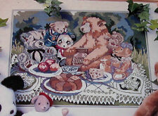 """Vintage Candamar """"Bear Essesntials"""" Teddy Picnic Picture Floss Needlepoint Kit"""
