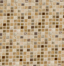 Dolls House Wallpaper Kitchen Brown Mosaic Quality Satin Paper Miniature #09