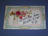VINTAGE 1907 GREETINGS FROM WATERVLIET   NEW YORK   POSTCARD