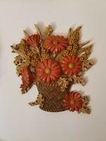 Vintage Burwood Wall picture plaque orange flowers in brown basket
