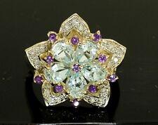 R207 Magnificent 9K Gold NATURAL Topaz & Diamond Daisy Star Blossom Ring size M