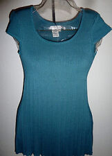 Studio M Pleated Empire Knit Cap SleeveSweater Blouse Blue Teal Top Small NWT