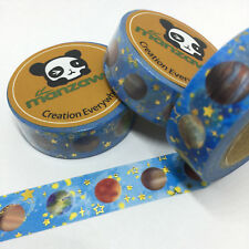 WASHI TAPE GOLD FOIL STARS & PLANETS ON BLUE 15MM WIDE X 10MTR ROLL PLAN CRAFT