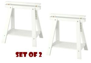 2 x Ikea Adjustable Height FINNVARD TRESTLE TABLE Wooden Stand Leg + Shelf,White
